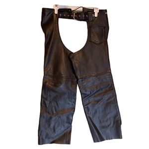 Vintage Universal Rider Leather Motorcycle Chaps S